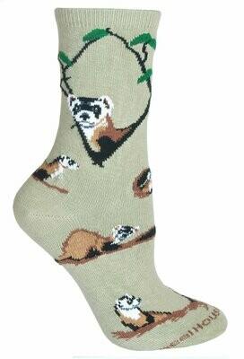 Black Footed Ferret Socks - Beige