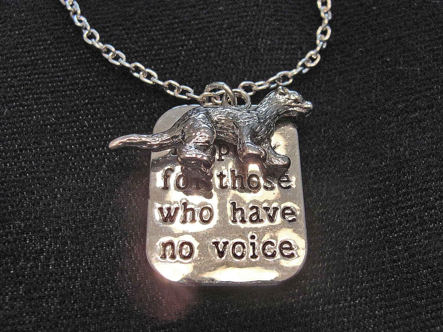 Pewter Ferret I Speak For Those Who Have No Voice Necklace