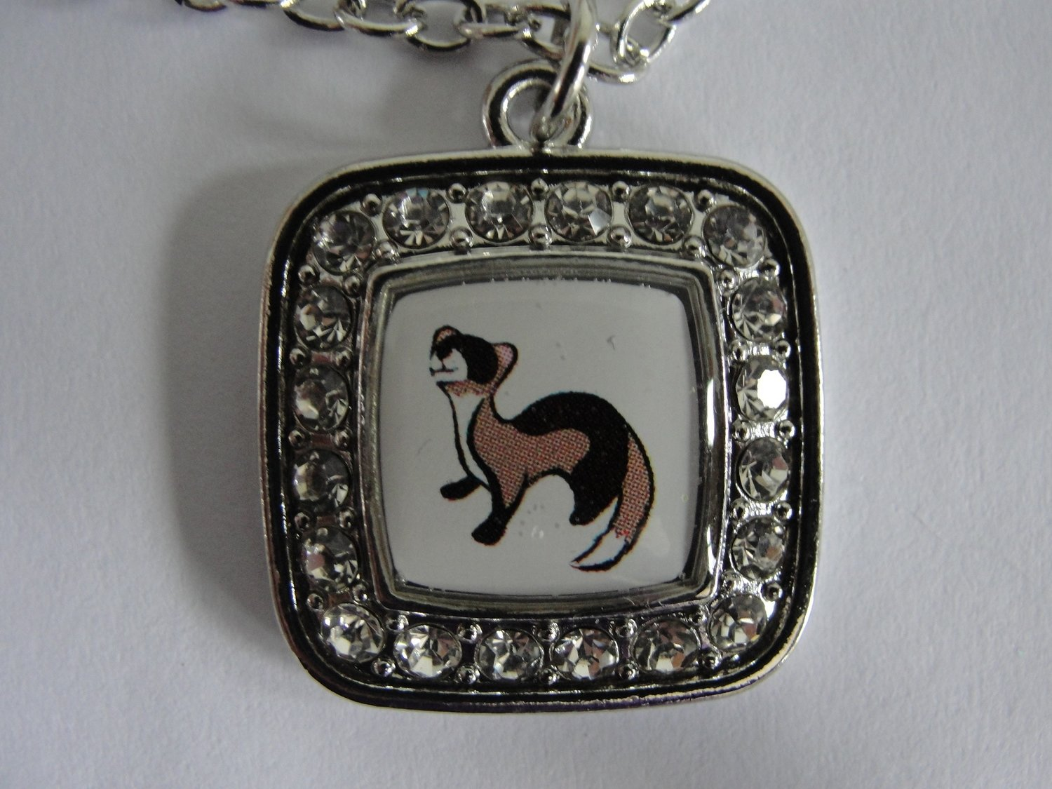 Rhinestone Framed Ferret Necklace