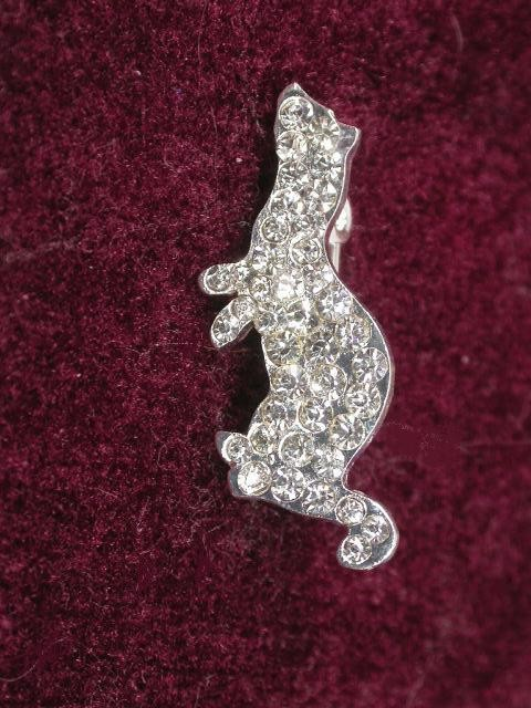 Ferret Clear Rhinestone Pin - Small