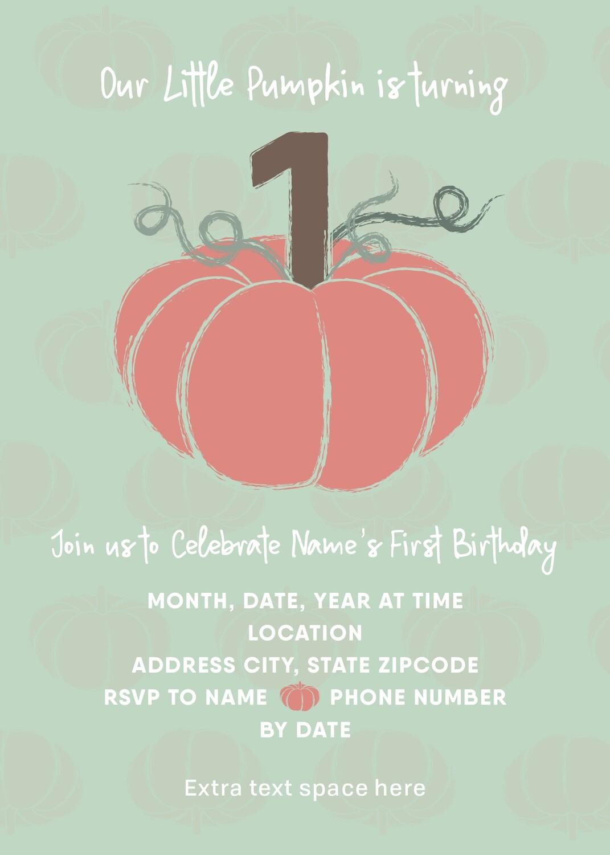 Fall 1st Birthday Invitation - Little Pumpkin - Mint & Peach - Customized