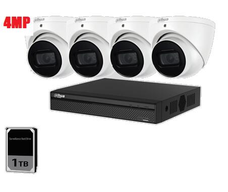 Dahua 4ch 4MP Turret kit +1TB HDD 4 IP Cameras