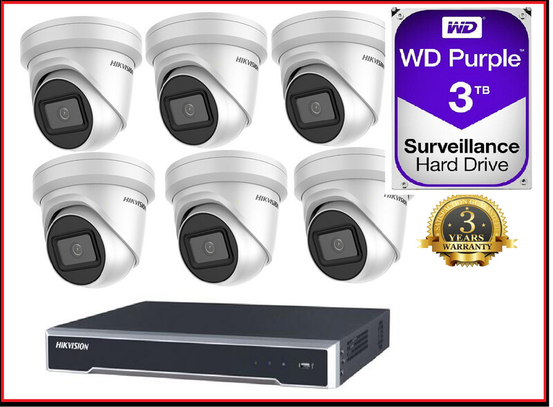 6MP 8CH Hikvision CCTV Kit: 6 x Outdoor Turret Cameras + 8CH NVR
