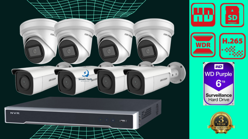 6MP 8CH Hikvision CCTV Kit: 4 x Outdoor Turret Cameras + 4 Bullet cameras + 8CH NVR