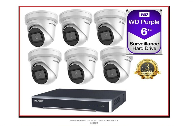 8MP 8CH Hikvision CCTV Kit: 6 x Outdoor Turret Cameras + 8CH NVR