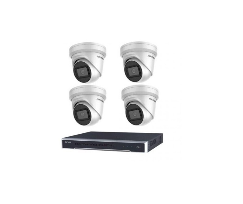 8MP 4CH Hikvision CCTV Kit: 4 x Outdoor Turret Cameras + 4CH NVR+ 3TB