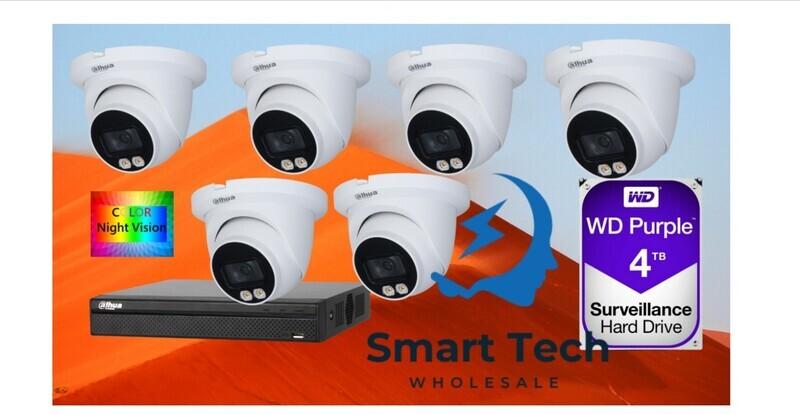 6x Dahua IPC-HDW3449TM-AS-LED 4MP Full-color Warm LED Fixed-focal Eyeball WizSense IP Camera