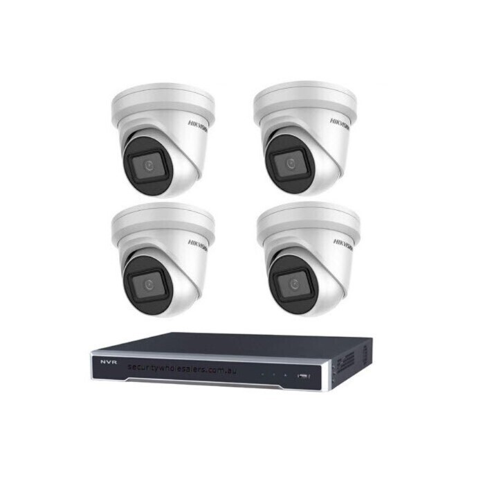 6MP 4CH Hikvision CCTV Kit: 4 x Outdoor Turret Cameras + 4CH NVR
