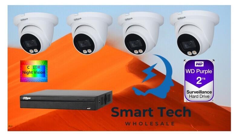 Dahua IPC-HDW3449TM-AS-LED 4MP Full-color + DHI-NVR4104HS-4P-4KS2 4 chanle NVR+ 2TB HDD