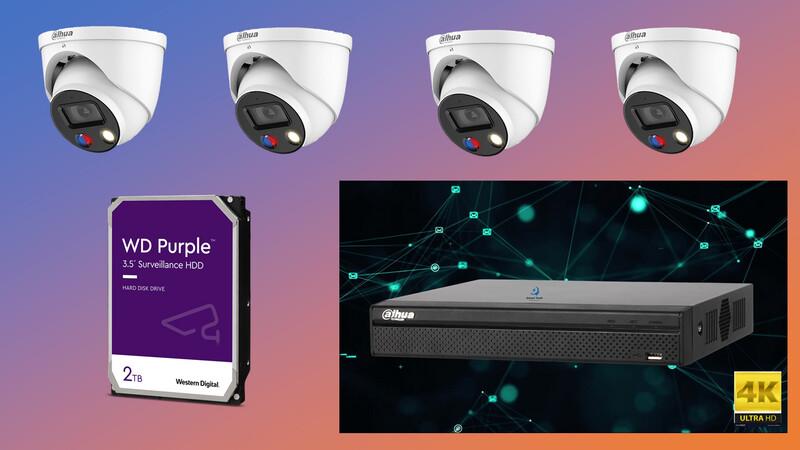 4 x 8MP DH-IPC-HDW3849HP-AS-PV TIOC camera 4 channel NVR 2TB Hard Drive