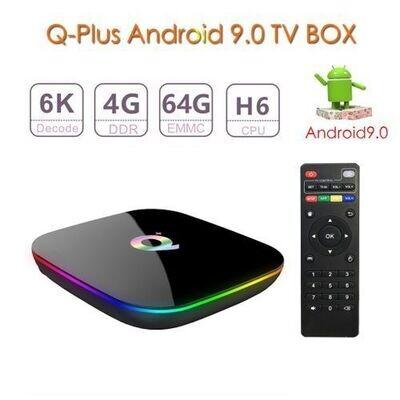 Tv Box - Q+ - Android Tv 6K 4+64 Gb Rom - Noir