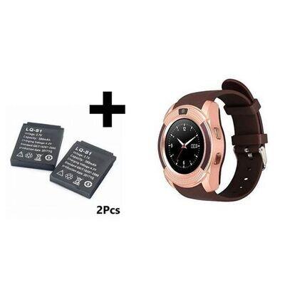 Smart Watch Smartwatch - V8 - Bluetooth- Carte Sim - Gold + 2 Batterie