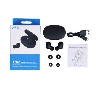 Double Oreillette Écouteurs Bluetooth A6S  5.0 - Réduction du Bruit - Noir
