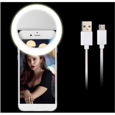Selfie Mini Ring Light Pour Selfie Mobil -Blanc ,For Smartphone