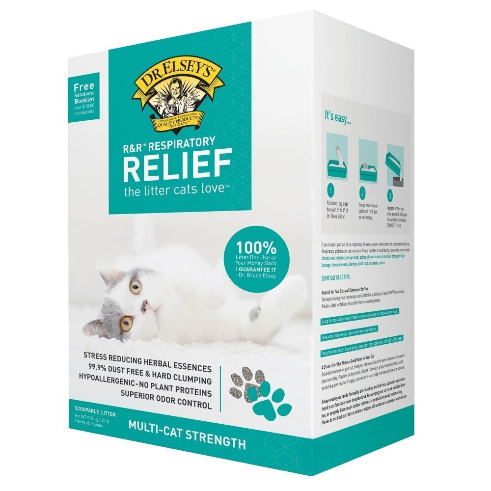 Dr Elsey's Precious Cat Herbal Essence Hypoallergenic Respiratory Relief Clumping Clay Litter 9kg
