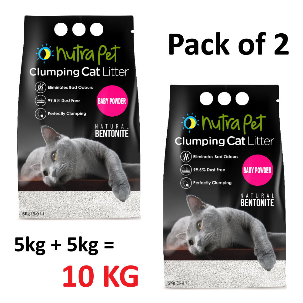 Nutrapet Baby Powder White Compact Cat Litter 5KG (PACK OF 2)