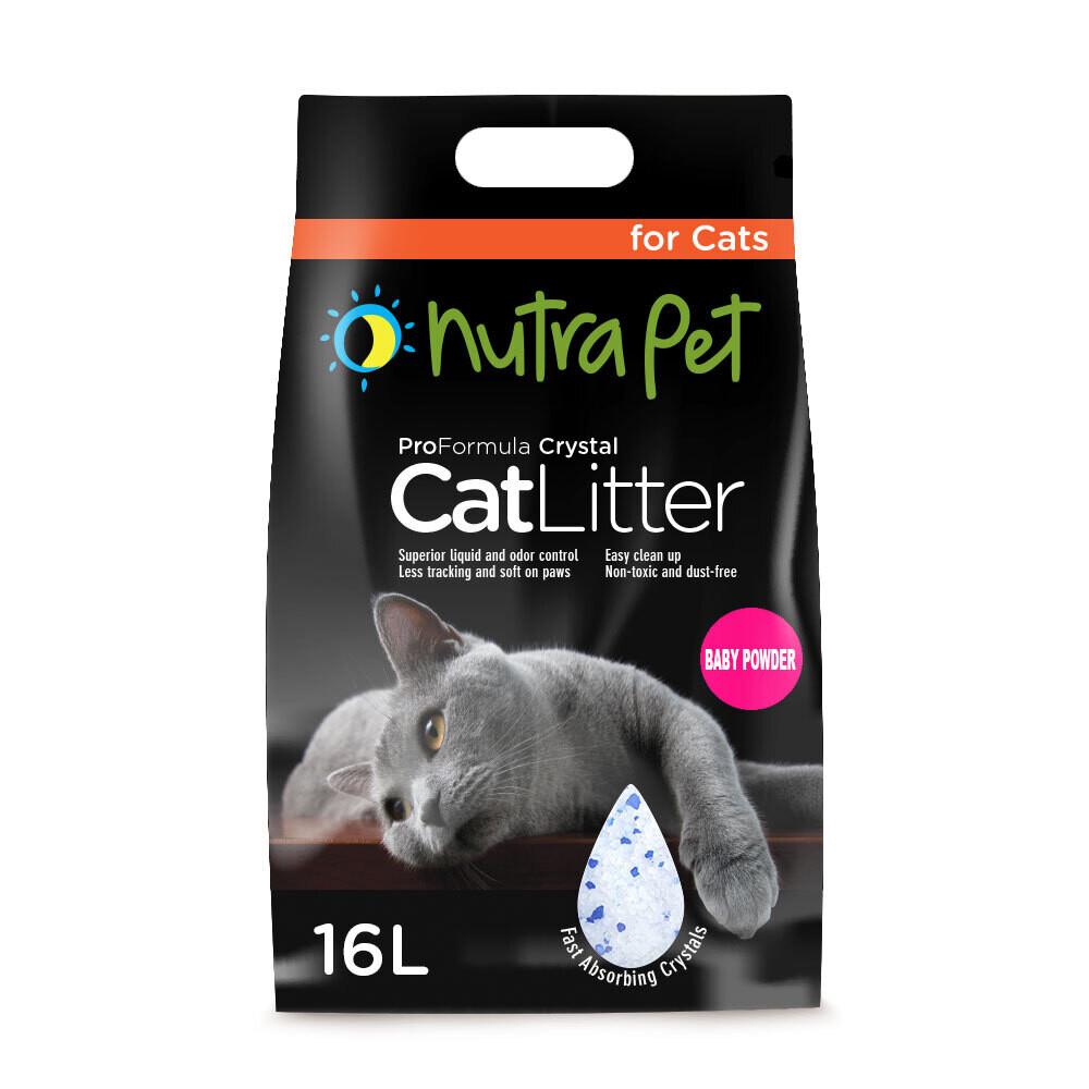 Nutrapet Cat Litter Silica Gel 16L- Baby Powder Scent-