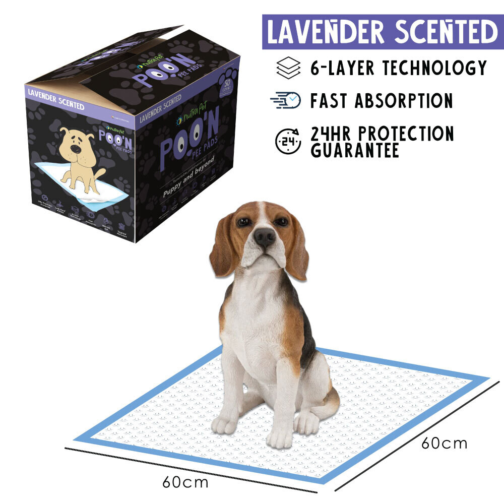 Nutrapet Poo N Pee Pads Lavender Scented 60 Cms X 60 Cms 5 X Absorption With Floor Mat Stickers - 50 Count LARGE