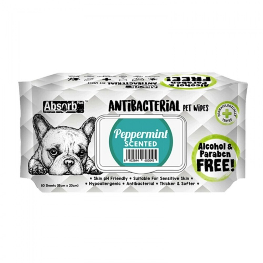 Absolute Pet Absorb Plus Antibacterial Pet Wipes Peppermint 80 Sheets