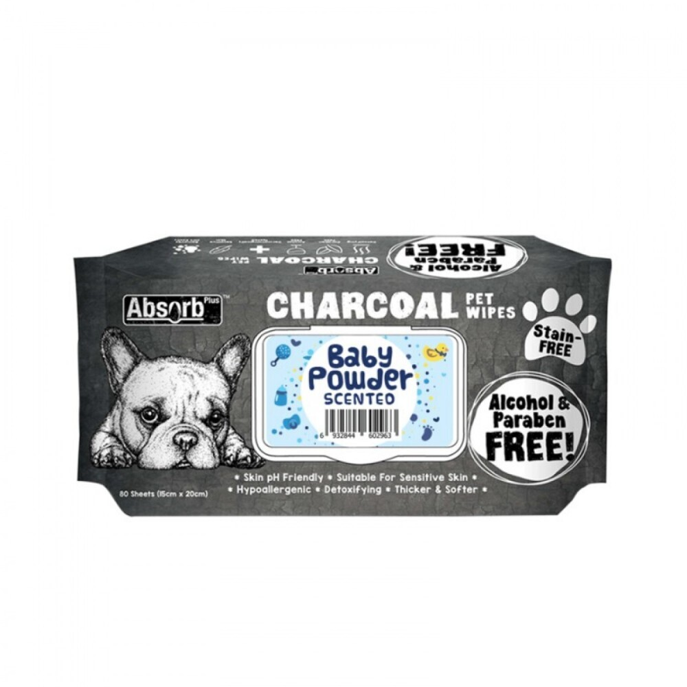 Absolute Pet Absorb Plus Charcoal Pet Wipes Baby Powder 80 Sheets