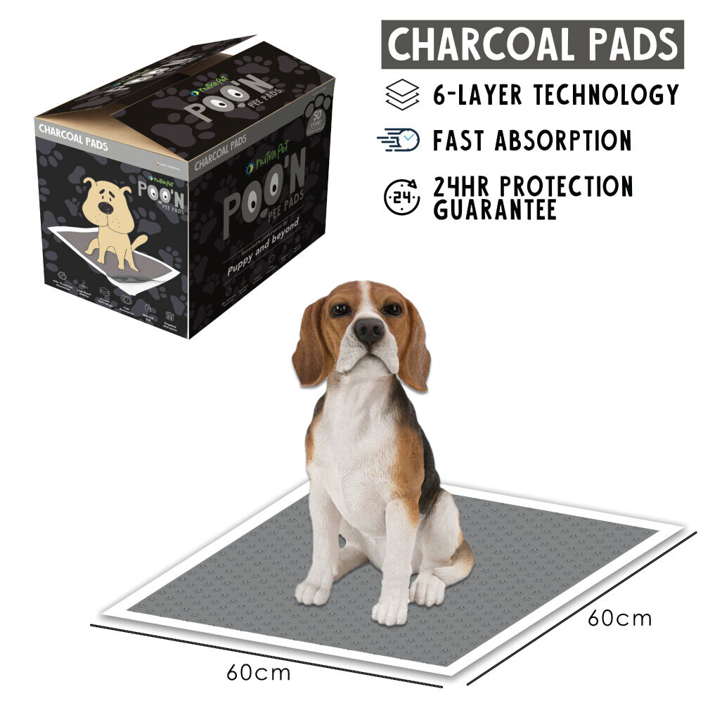 Nutrapet Poo N Pee Pads Charcoal Edition 60 Cms X 60 Cms 5 X Absorption With Floor Mat Stickers - 50 Count LARGE