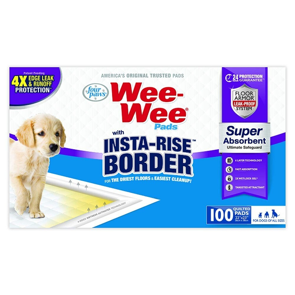 FOUR PAWS WEE-WEE INSTA-RISE BORDER PAD, 100 PACK