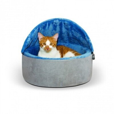 """K&H Self-Warming Kitty Bed Hooded Small Blue/Gray 16""""/41 Cms"""