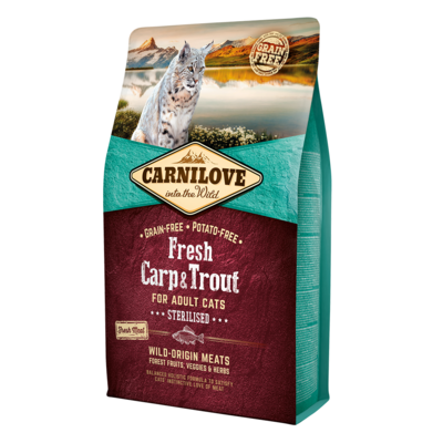 Carnilove Fresh Carp & Trout Dry Food for Adult Cats 2kg