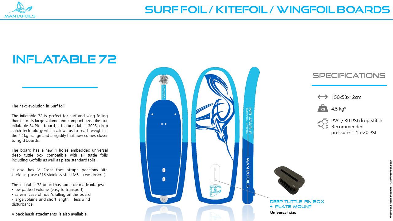 Inflatable surf foil /kitefoil board - 72L - V2 Tuttle ONLY