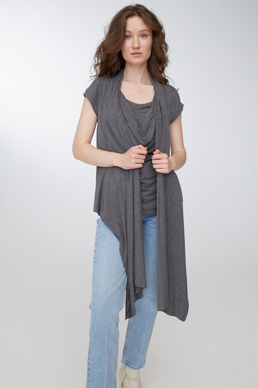 Кофта-кардиган с коротким рукавом темно-серый