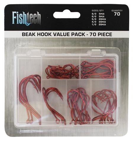 FISHTECH RED BEAK HOOK PACK (70 ASSORTED PIECES)