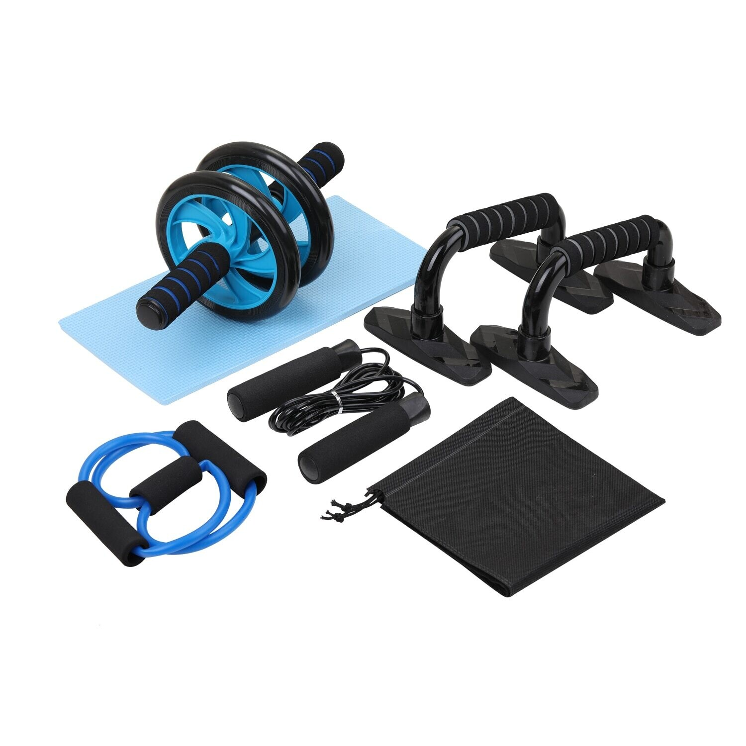 5in1 AB Wheel Roller Kit Push-ups Stands Abdominal Press Wheel Pro w/ Push-UP Bar Jump Rope Knee Pad abs workout for Home Gym