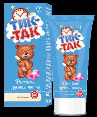 """Паста зубная детская """"Тик-Так"""" bubble gum 2+, 62г"""