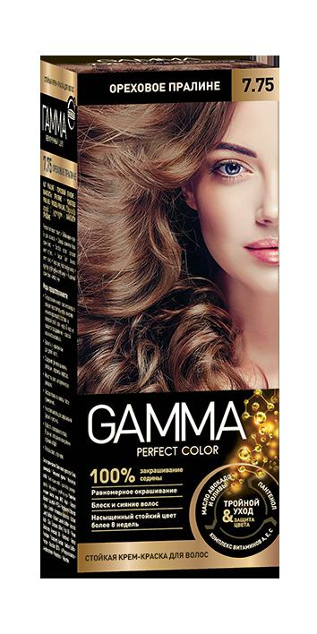 """Краска для волос """"GAMMA Perfect color"""" ореховое пралине, 7.75"""