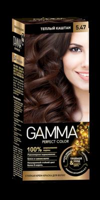 "Краска для волос ""GAMMA Perfect color"" тёплый каштан, 5.47"