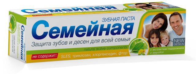 """Зубная паста """"Семейная"""" с экстрактом подорожника и зверобоя, без фтора, 124г"""