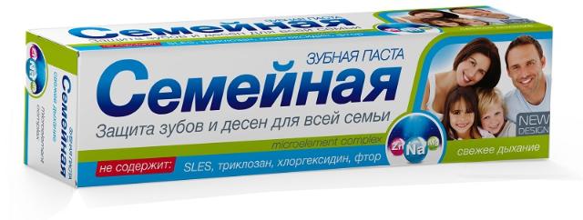 """Зубная паста """"Семейная"""" свежее дыхание, без фтора, 124г"""