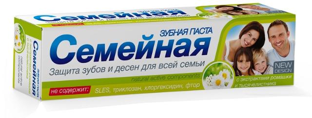 """Зубная паста """"Семейная""""с экстрактом тысячелистника и ромашки, без фтора, 124г"""