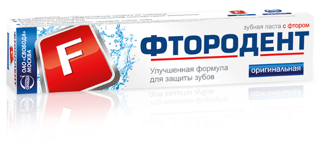 """Зубная паста """"Фтородент"""" оригинальная, с фтором, 62г"""