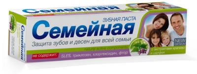 """Зубная паста """"Семейная"""" c экстрактами крапивы и шалфея, без фтора, 124г"""