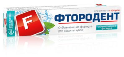 """Зубная паста """"Фтородент"""" отбеливающая формула, с фтором, 62г"""