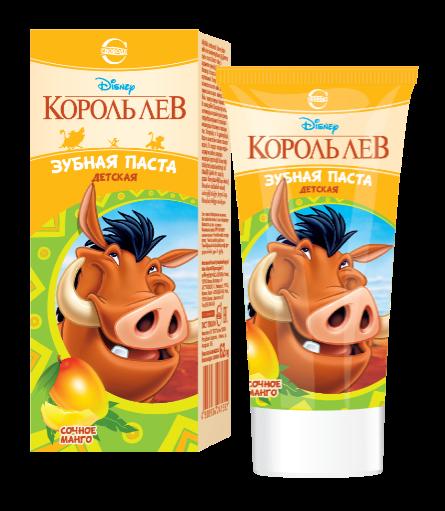 """Детская зубная паста """"Король Лев"""" с ароматом сочного манго 2+, 62г"""