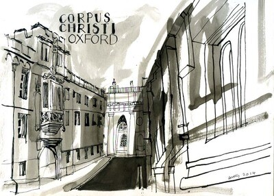 original mounted drawing of Corpus Christi OXFORD