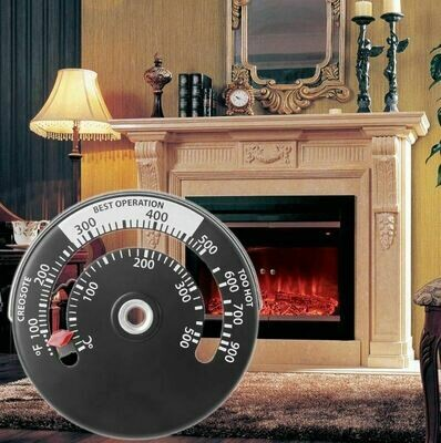 Wood Heater Wood Stove Magnetic Temperature Thermometer Temperature Gauge B & W *Free Shipping