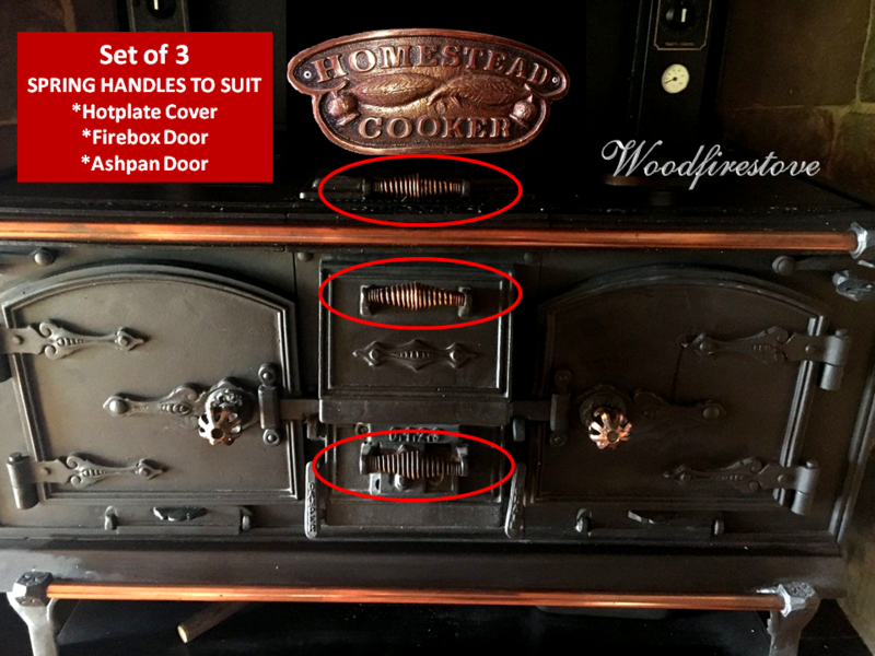 HOMESTEAD COOKER / KANGAROO STOVE (Set of 3) SPRING HANDLE for Ashpan Door, Firebox Door & Hotplate Cover