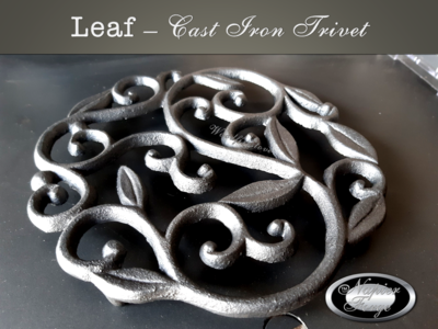 LEAF TRIVET Cast Iron *FREE SHIPPING