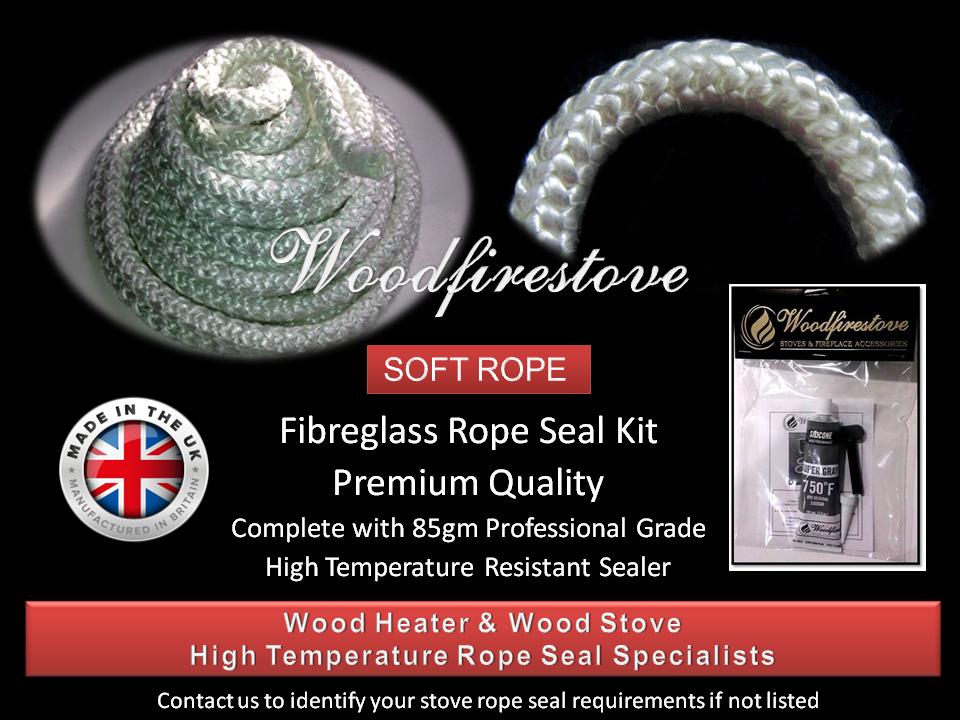 WOOD STOVE & HEATER Fibreglass DOOR ROPE SEAL KIT (12mm) - 2 Metres *Free Shipping