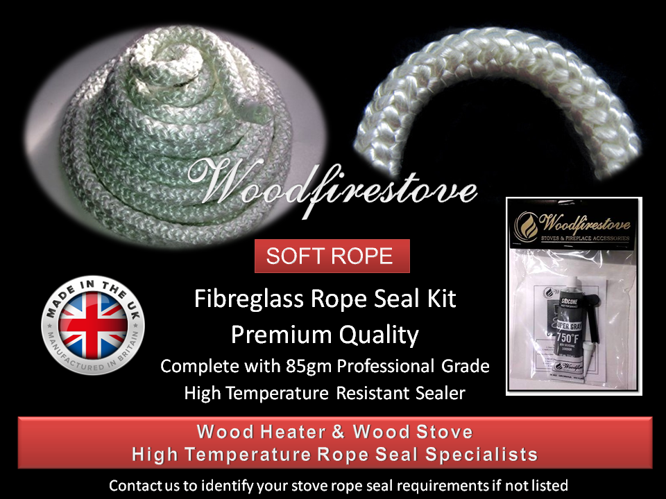 WOOD STOVE & HEATER Fibreglass DOOR ROPE SEAL KIT (15mm) - 2 Metres *Free Shipping