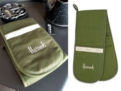 Harrods Double Oven Gloves - Classic Hue Green Embroidered Limited Edition*FREE SHIPPING