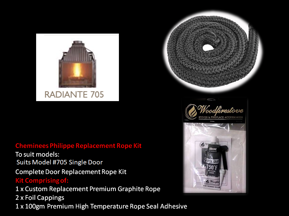 Cheminees Philippe RADIANTE 705 SINGLE DOOR ROPE SEAL KIT Replacement - Custom Size *Free Shipping